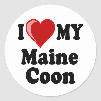 I Love (Heart) My Maine Coon Cat Round Sticker