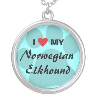 I Love (Heart) My Norwegian Elkhound Necklace