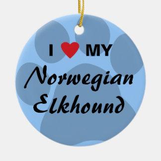 I Love (Heart) My Norwegian Elkhound Christmas Ornaments
