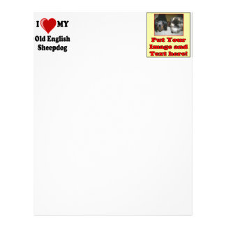 I Love (Heart) My Old English Sheepdog Dog Personalized Letterhead