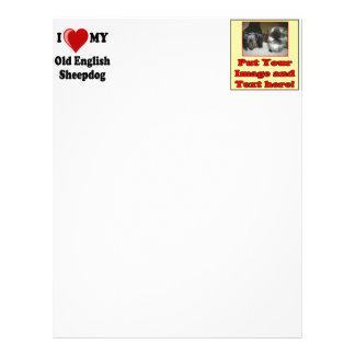 I Love (Heart) My Old English Sheepdog Dog Personalized Letterhead