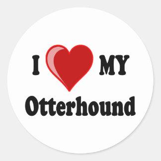 I Love (Heart) My Otterhound Dog Round Sticker