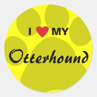 I Love (Heart) My Otterhound Round Sticker
