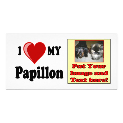I Love (Heart) My Papillon Dog Picture Card