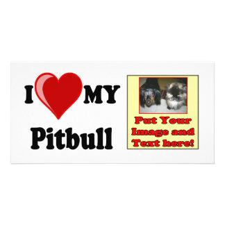 I Love (Heart) My Pitbull Dog Custom Photo Card