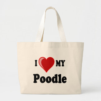 I Love (Heart) My Poodle Dog Canvas Bags