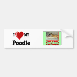 I Love (Heart) My Poodle Dog Bumper Stickers