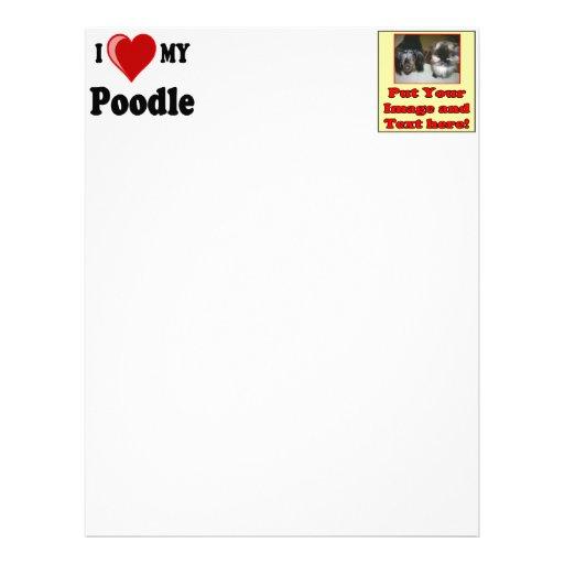 I Love (Heart) My Poodle Dog Customized Letterhead