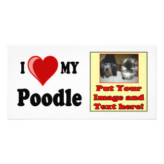 I Love (Heart) My Poodle Dog Photo Cards