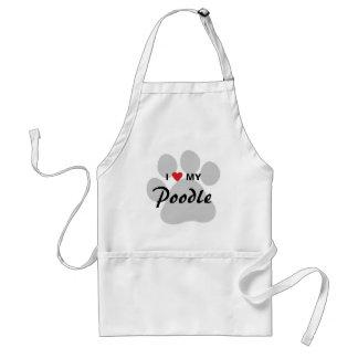 I Love (Heart) My Poodle Pawprint Standard Apron