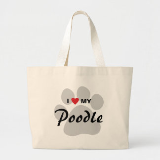 I Love (Heart) My Poodle Pawprint Jumbo Tote Bag