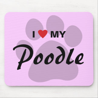 I Love (Heart) My Poodle Pawprint Mouse Pad