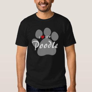 I Love (Heart) My Poodle Pawprint Tshirt