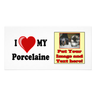 I Love (Heart) My Porcelaine Dog Picture Card