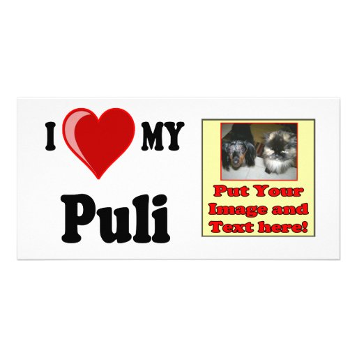 I Love (Heart) My Puli Dog Personalized Photo Card
