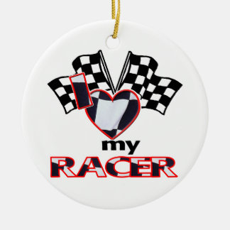 I Love (Heart) My Racer Ceramic Ornament