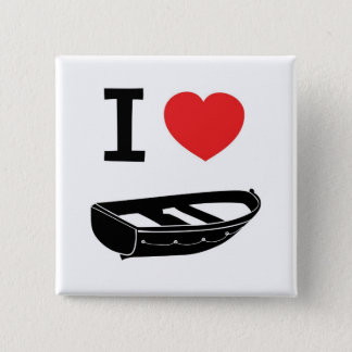 I love heart my rowing / row boat 2 inch square button