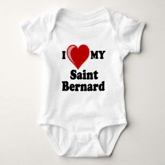 I Love (Heart) My Saint Bernard Dog Baby Bodysuit