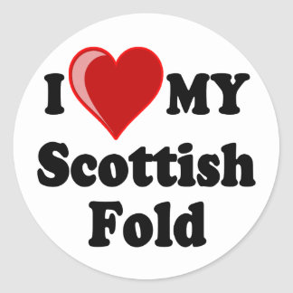 I Love (Heart) My Scottish Fold Cat Round Sticker