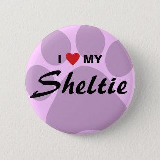I Love (Heart) My Shetland Sheepdog Pawprint 2 Inch Round Button