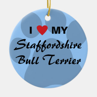 I Love (Heart) My Staffordshire Bull Terrier Round Ceramic Ornament