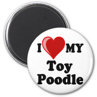 I Love (Heart) My Toy Poodle Dog 2 Inch Round Magnet