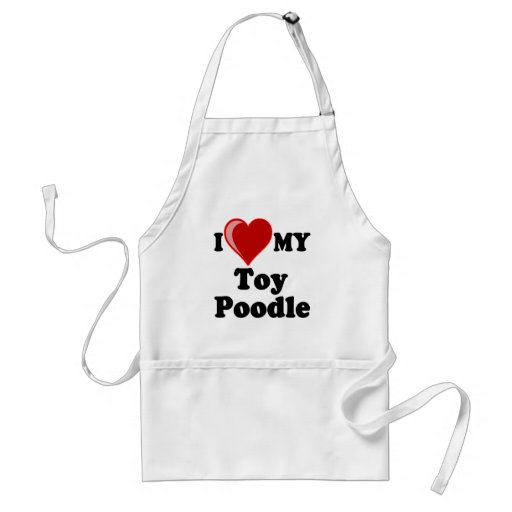 I Love (Heart) My Toy Poodle Dog Aprons