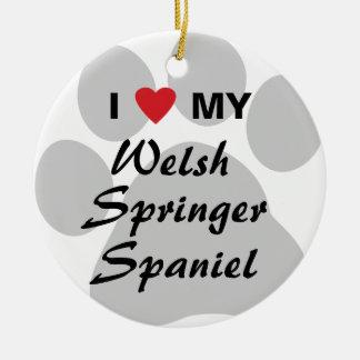 I Love (Heart) My Welsh Springer Spaniel Ceramic Ornament
