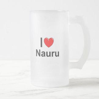 I Love Heart Nauru Frosted Glass Beer Mug