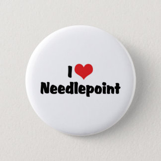 I Love Heart Needlepoint 2 Inch Round Button