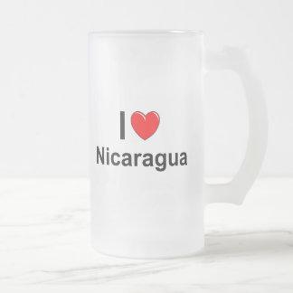 I Love Heart Nicaragua Frosted Glass Beer Mug