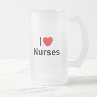 I Love Heart Nurses Frosted Glass Beer Mug
