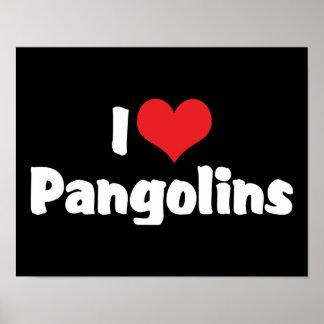 I Love Heart Pangolins - Pangolin Lover Poster