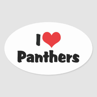 I Love Heart Panthers Oval Sticker