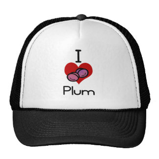 I love-heart plum trucker hat