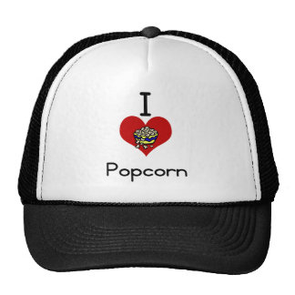 I love-heart  popcorn trucker hat