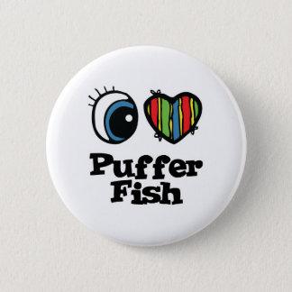 I Love (Heart) Puffer Fish 2 Inch Round Button