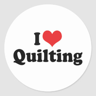 I Love Heart Quilting - Sewing Quilter Round Sticker
