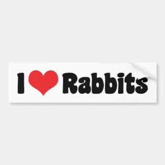 I Love Heart Rabbits Bumper Sticker