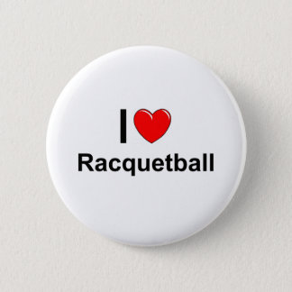 I Love Heart Racquetball 2 Inch Round Button