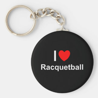 I Love Heart Racquetball Keychain