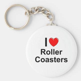 I Love Heart Roller Coasters Keychain