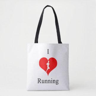I Love Heart Running Health Fitness Tote Bag