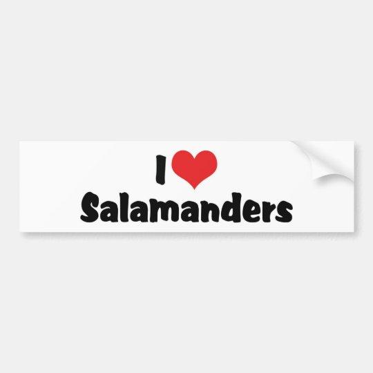 I Love Heart Salamanders Bumper Sticker