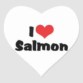 I Love Heart Salmon - Fish Lover Heart Sticker