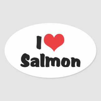 I Love Heart Salmon - Fish Lover Oval Sticker