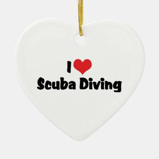 I Love heart Scuba Diving - Ocean Deap Sea Lover Ceramic Heart Ornament
