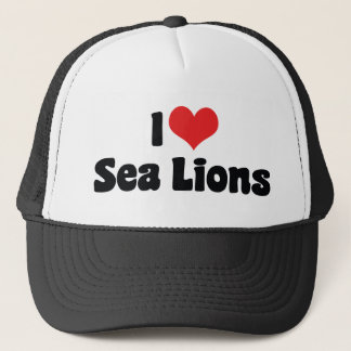 I Love Heart Sea Lions Trucker Hat