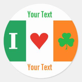 I Love Heart Shamrocks Ireland Name tag Sticker