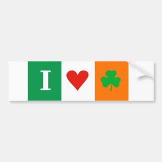 I Love Heart Shamrocks Ireland Room Bumper Sticker